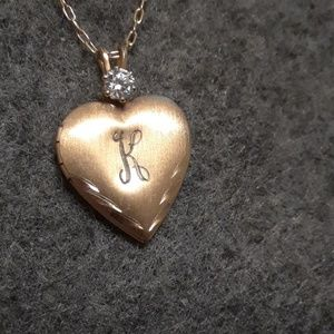 Gold tone initial K and cz heart locket with chain